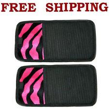 2pcs Set Hot Pink Zebra Print CD DVD Visor Holder Organizer Match Seat Covers