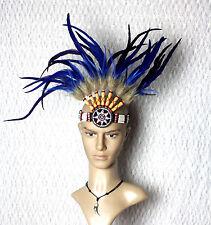 Indianer Stirnband Stirn Choker BLAU Kopfschmuck Federschmuck Federn Fasching