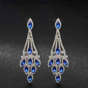 blue /clear crystal/rhinestone bridal/ prom  evening  dangle   earring  B 22 /7