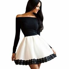 Women's Long Sleeve Short Mini Dress Party Cocktail Off-Shoulder Slim Bodycon UK