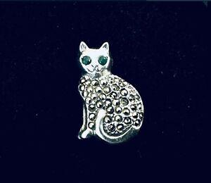 Fine Sterling Silver Marcasite Cat Pendant Charm label pin vintage style design
