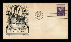 DR JIM STAMPS US NATION MOURNS FRANKLIN D ROOSEVELT D W KNAPP COVER 1945