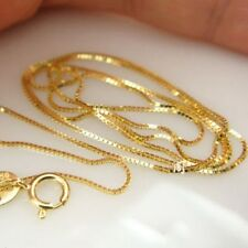 "Pure Solid 18k Yellow Gold Perfect Luck Box Bead Link Chain Tiny Necklace 16""L"