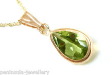 """9ct Gold Peridot Teardrop Pendant and 18"""" chain Gift Boxed Made in UK"""