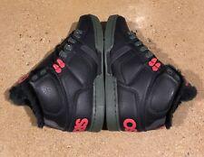Osiris NYC 83 Shearling Size 7 Black Pine Red BMX DC MOTO Skate Shoes $85 Box