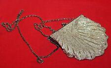 Vintage Women's Silver Beaded Evening Clutch Bag Purse Hand Bag
