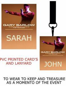 Gary Barlow Tour 2021 PVC LANYARD PASS VIP  LANYARD PERSONALISED