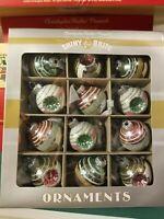 "Radko Vtg 12 Shiny Brite CHRISTMAS 2"" Ornament Balls & Reflectors NIB Pink Green"