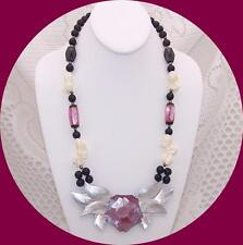 LEE SANDS Necklace, Pink Mother of Pearl Flower & Black Beads.