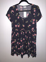 NWT Others Follow Anthropologie S Black Floral Polka Dot Button Tie Front Dress