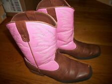 SMARTFIT BROWN & PINK COWBOY BOOTS WESTERN COWGIRL GIRLS SHOES SZ 3