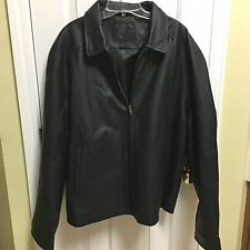 NWT MENS SADDLEBRED BLACK LEATHER JACKET SIZE XL - ZIP FRONT W/COLLAR FREE SHIP