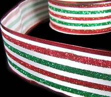 """5 Yds Christmas Red Green Glitter Stripe Striped Wired Ribbon 2 1/2"""""""