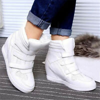 Womens High Top Hidden Wedge Sneakers Lace Up Casual Shoes Ankle Boots Zsell