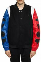 Jordan DNA Varsity Jacket Top 3 Leather/Wool Black/Blue/Red AT9958-010 Size L