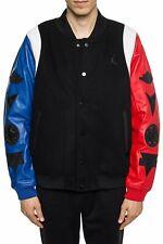 Jordan DNA Varsity Jacket Top 3 Leather/Wool Black/Blue/Red AT9958-010 Size L