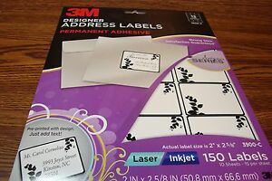 150 3M Fancy Designer Series Address Labels DIY Laser/Inkjet  White/Black Border