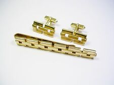 VINTAGE CUFF LINKS TIE CLIP SET SWANK MAD MEN CUFFLINKS FORMAL WEAR GROOM GIFT
