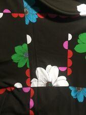 "VTG Fabric MOD Screen Print Mixed Colors Dark  Floral Apsco Inc  2.7/9 Yd  60"""