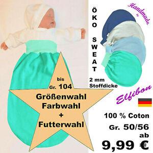 ELFIBON ÖKO-Sweat Pucksack, Baby BW- Schlafsack Swaddle Fußsack, Sommer + Winter