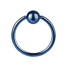 piercing anneaux bleu 1.2x8x4 acier 316 L  pour Arcade nez téton oreille