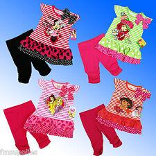 Girls Disney Minnie Mouse Dora Dress  Top Leggings  Set Age 12 Months-7 Years