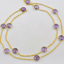 Heavy Plated Gold Vermeil Lilac Amethyst Gemstone Connector Necklace 45 inch
