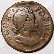 1760 N-15 R-4 Voce Populi Colonial Copper Cent Coin