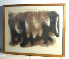 VINTAGE ABSTRACT PAINTING DRAWING MID CENTURY Signed LISTED LEONARD MAURER 1961