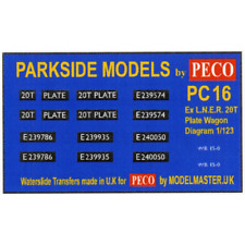 Modelmaster MMPC16 Ex LNER 20T Plate Wagon Transfers (Parkside PC16) OO Gauge