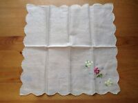 "Vintage Embroidered Pink Pansies Flower Handkerchief  Kerchief Cloth Decor 12"""