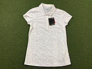 Women's PUMA Polka Dot Golf Polo Shirt White Pink SZ Small ( 597699 03 )
