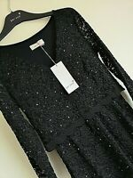 RRP £55 LUXURY M&S PER UNA SIZE 8 BLACK LINED STRETCH LACE DRESS WITH SPARKLE