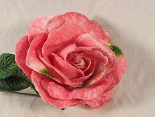 Velvet Pink Rose Flat Long Stem Millinery Green Leaves Edges Floral Crown Bridal