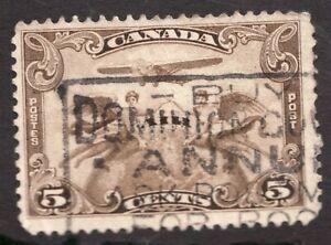 #C1 - Canada - 1928 - 5c - Air Mail - Used - Slogan -  superfleas - cv$8