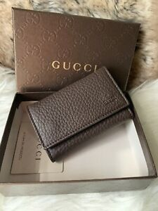 NWT AUTHENTIC GUCCI Unisex Key Holder Case In Dark Brown Pebbled Leather
