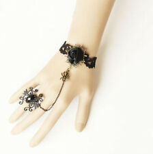 Handmade Black Lace Flower Bracelet Ring sets Women Fashion Party Jewelry Gift