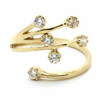 Attractive Diamond Adjustable Toe Ring For Women's 14K Yellow Gold Over