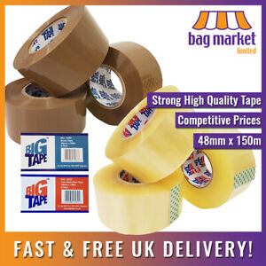 """Strong 48mm x 150m Big Tape™ Brown/Clear Parcel/Packing Tape!   Cello/Sello/2"""""""