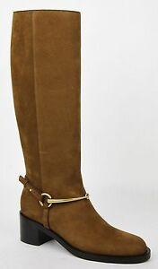 $1495 New Gucci Women's Brown Suede Knee Boot w/Large Horsebit 353794 2548