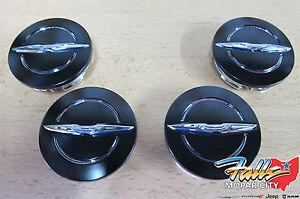 2013-2014 Chrysler 200 Black & Chrome Wheel Center Caps Set of 4 Mopar OEM