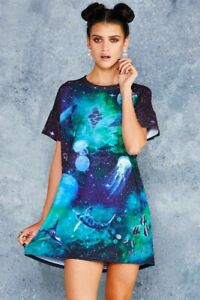 Black Milk Galactic Ocean Slouched Tee Dress Small S RARE Blackmilk BNWT Fit M L