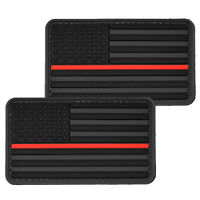 2x US Flag With Red Line Black PVC Morale Patch 3D Tactical Badge Hook #50