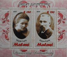 Maria Curie Sklodowska Pierre Curie scientists Nobel Malawi 2011 MNH  #H013