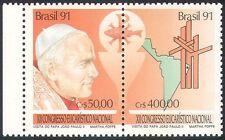 Brazil 1991 Pope John Paul II/Papal Visit/Map/Religion/People 2v s-t pr (n24607)