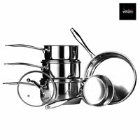 3 or 5 Piece Tenzo M Series Cookware Saucepan Set, Stainless Steel/Glass Lids