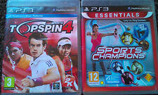 PLAYSTATION 3 MOVE GAMES 'SPORTS CHAMPIONS ESSENTIALS & TOP SPIN 4 2K SPORTS'