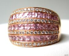 Le Vian LEVIAN 14K rose gold Pink Sapphire white DIAMONDS large dome band ring