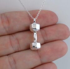 Dumbbell Charm Necklace - 925 Sterling Silver - Weights Gym Workout Muscles NEW
