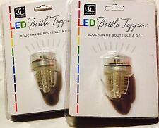 LED Color Changing Lighted Bottle Stopper Wine Topper Set of 2